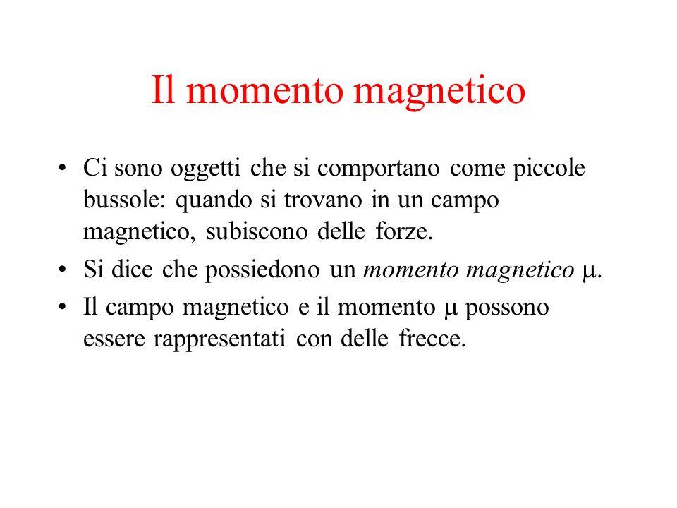 Il momento magnetico Ci sono oggetti che si comportano come piccole bussole: quando si trovano in un campo magnetico, subiscono delle forze. Si dice c