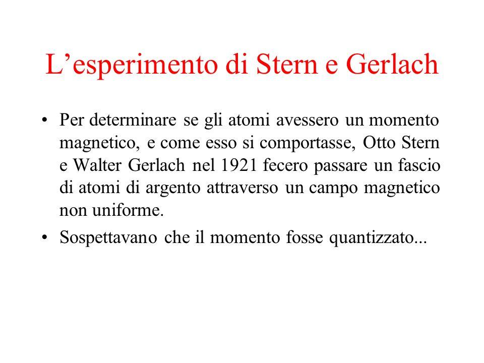Lesperimento di Stern e Gerlach Per determinare se gli atomi avessero un momento magnetico, e come esso si comportasse, Otto Stern e Walter Gerlach ne