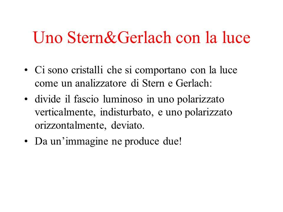 Uno Stern&Gerlach con la luce Ci sono cristalli che si comportano con la luce come un analizzatore di Stern e Gerlach: divide il fascio luminoso in un