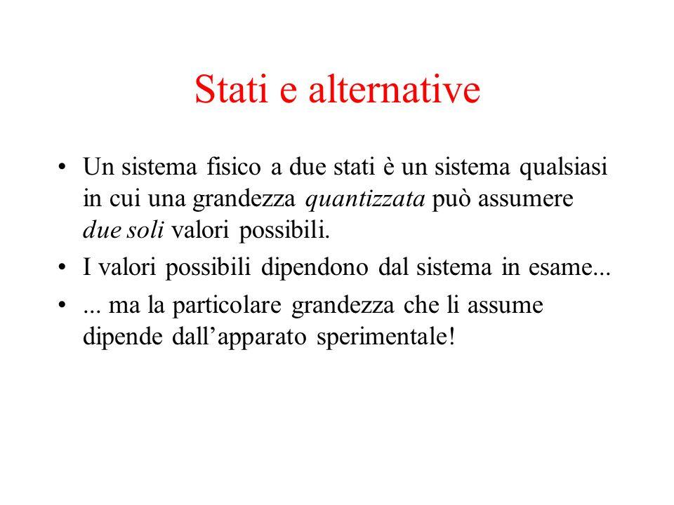 Stati e alternative Un sistema fisico a due stati è un sistema qualsiasi in cui una grandezza quantizzata può assumere due soli valori possibili. I va