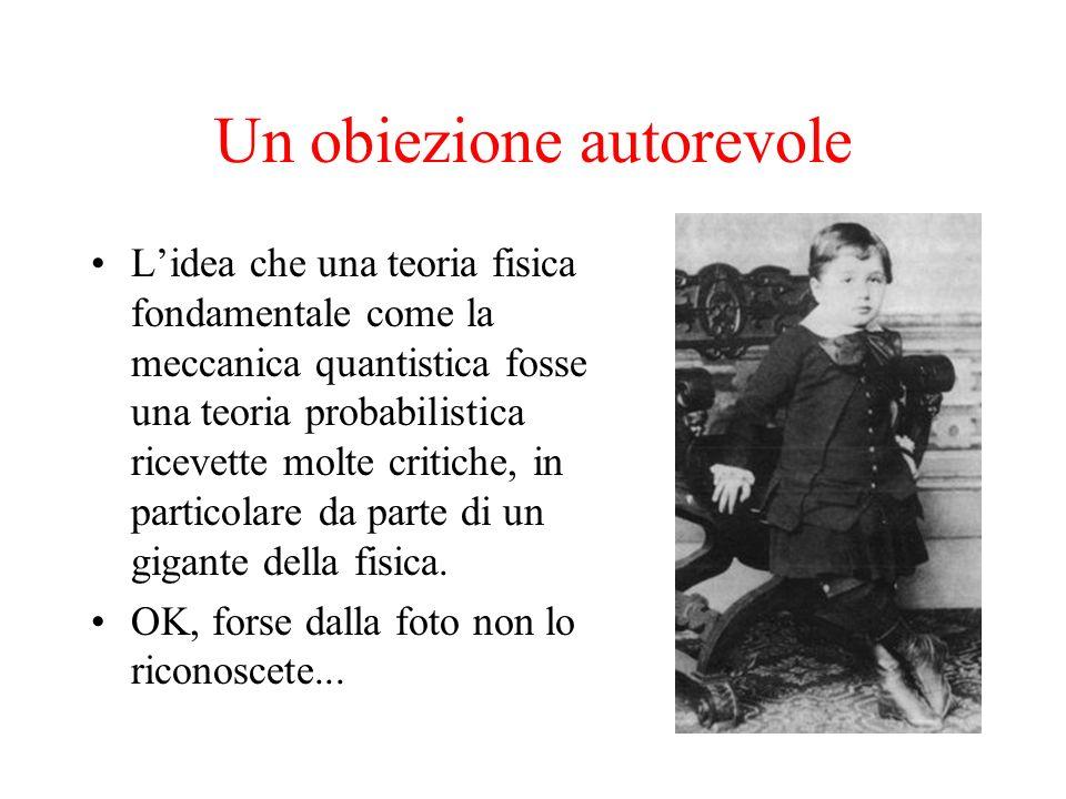 Un obiezione autorevole Lidea che una teoria fisica fondamentale come la meccanica quantistica fosse una teoria probabilistica ricevette molte critich