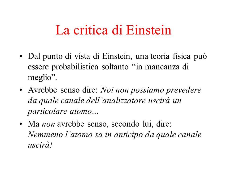 La critica di Einstein Dal punto di vista di Einstein, una teoria fisica può essere probabilistica soltanto in mancanza di meglio. Avrebbe senso dire:
