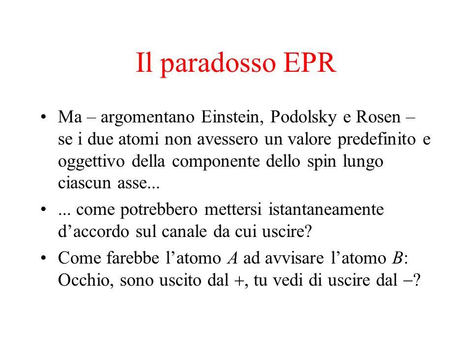 Il paradosso EPR Ma – argomentano Einstein, Podolsky e Rosen – se i due atomi non avessero un valore predefinito e oggettivo della componente dello sp