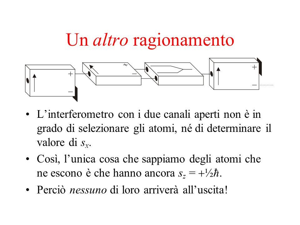 Un altro ragionamento Linterferometro con i due canali aperti non è in grado di selezionare gli atomi, né di determinare il valore di s x. Così, lunic