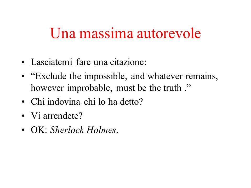 Una massima autorevole Lasciatemi fare una citazione: Exclude the impossible, and whatever remains, however improbable, must be the truth. Chi indovin