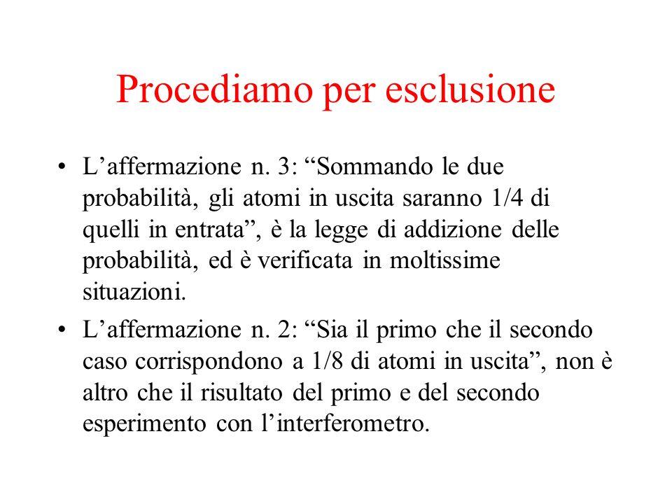 Procediamo per esclusione Laffermazione n. 3: Sommando le due probabilità, gli atomi in uscita saranno 1/4 di quelli in entrata, è la legge di addizio