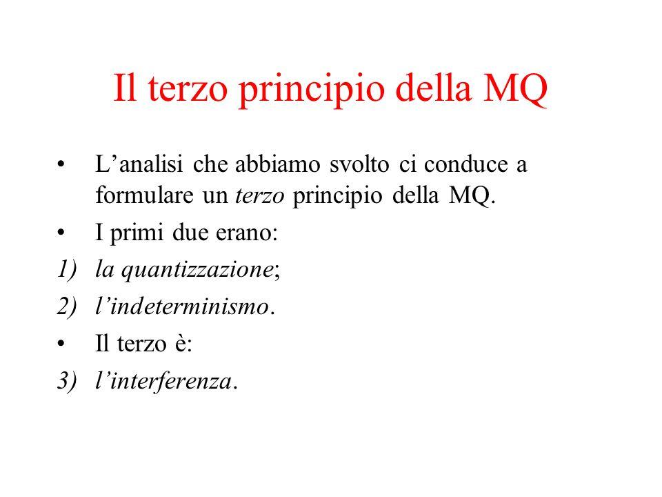 Il terzo principio della MQ Lanalisi che abbiamo svolto ci conduce a formulare un terzo principio della MQ. I primi due erano: 1)la quantizzazione; 2)