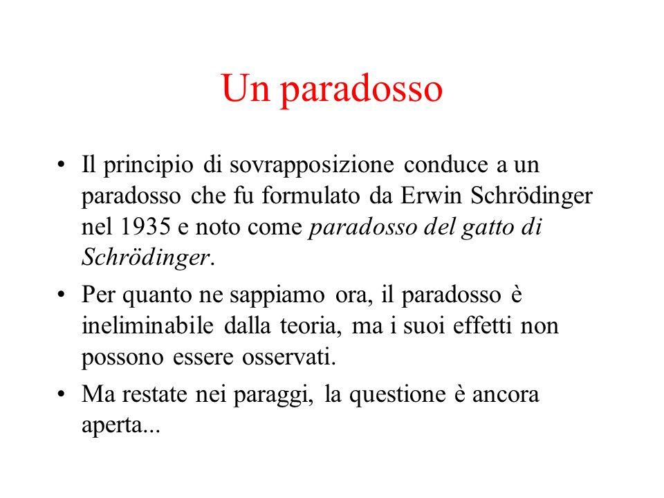 Un paradosso Il principio di sovrapposizione conduce a un paradosso che fu formulato da Erwin Schrödinger nel 1935 e noto come paradosso del gatto di