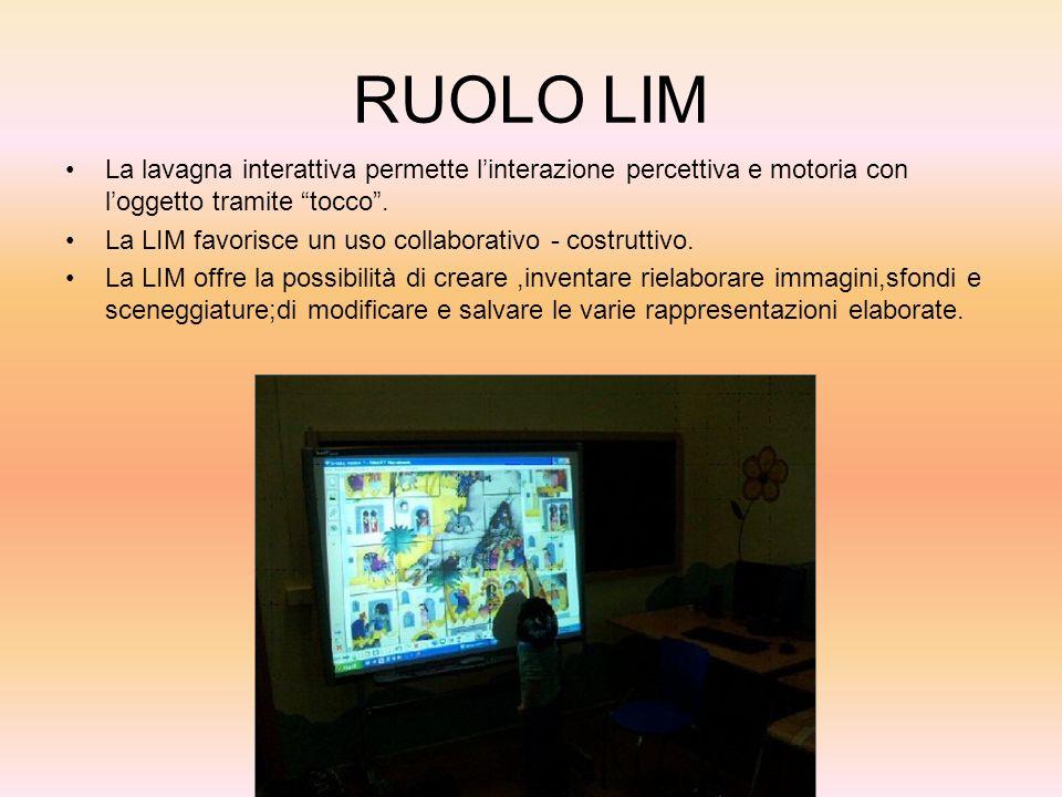RUOLO LIM La lavagna interattiva permette linterazione percettiva e motoria con loggetto tramite tocco. La LIM favorisce un uso collaborativo - costru