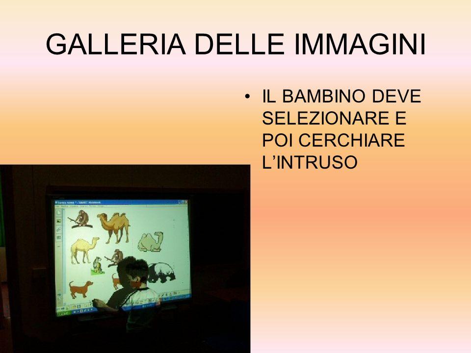 GALLERIA DELLE IMMAGINI IL BAMBINO DEVE SELEZIONARE E POI CERCHIARE LINTRUSO