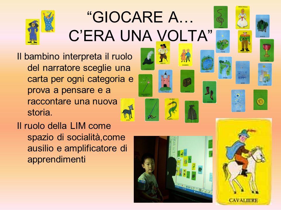 GIOCARE A… CERA UNA VOLTA Il bambino interpreta il ruolo del narratore sceglie una carta per ogni categoria e prova a pensare e a raccontare una nuova