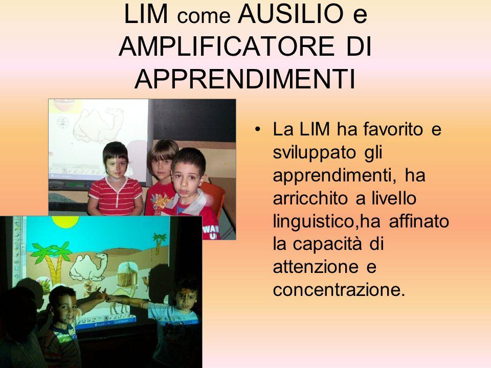 LIM come AUSILIO e AMPLIFICATORE DI APPRENDIMENTI La LIM ha favorito e sviluppato gli apprendimenti, ha arricchito a livello linguistico,ha affinato l