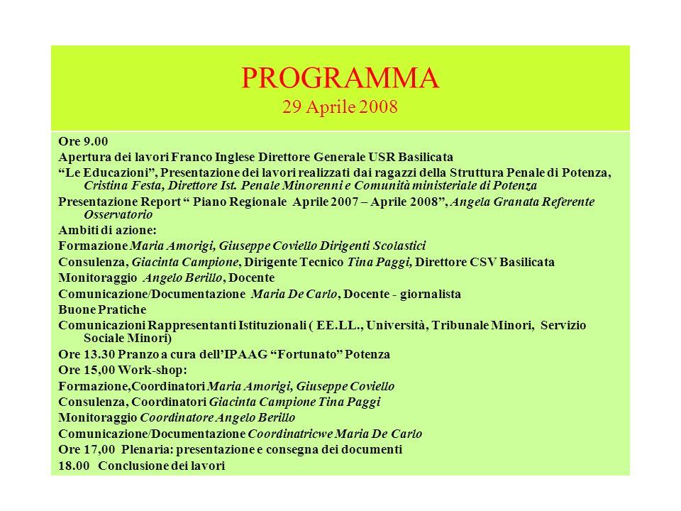 PROGRAMMA 29 Aprile 2008 Ore 9.00 Apertura dei lavori Franco Inglese Direttore Generale USR Basilicata Le Educazioni, Presentazione dei lavori realizz