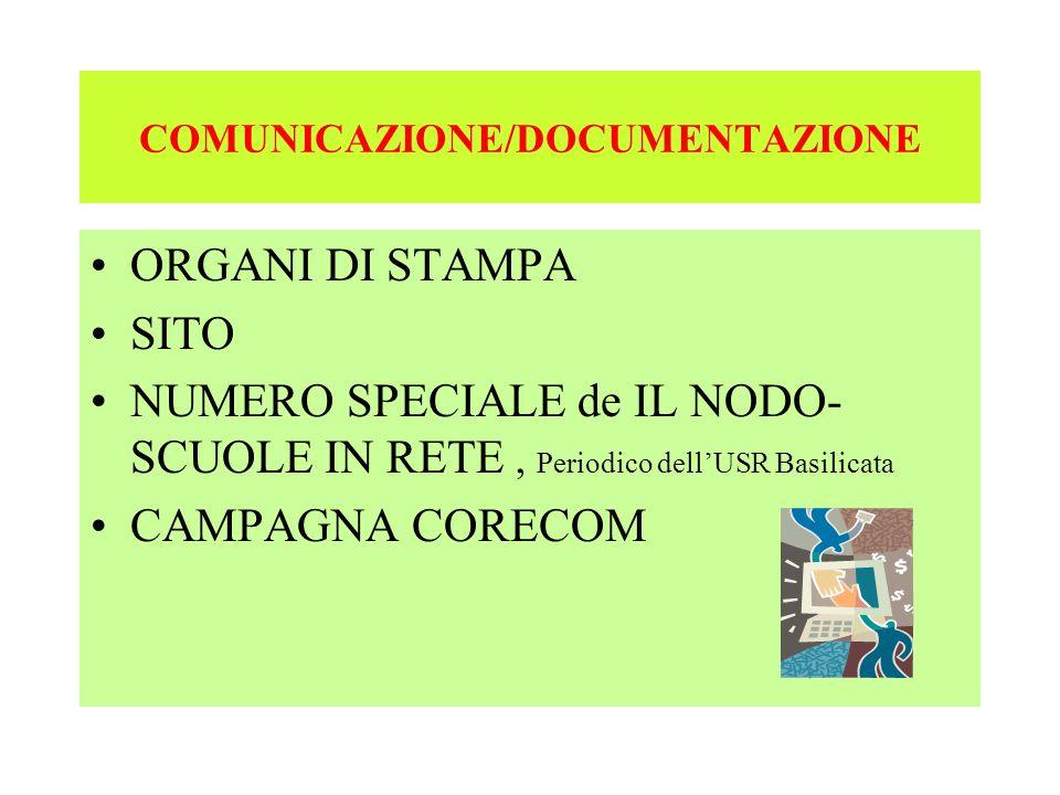 COMUNICAZIONE/DOCUMENTAZIONE ORGANI DI STAMPA SITO NUMERO SPECIALE de IL NODO- SCUOLE IN RETE, Periodico dellUSR Basilicata CAMPAGNA CORECOM