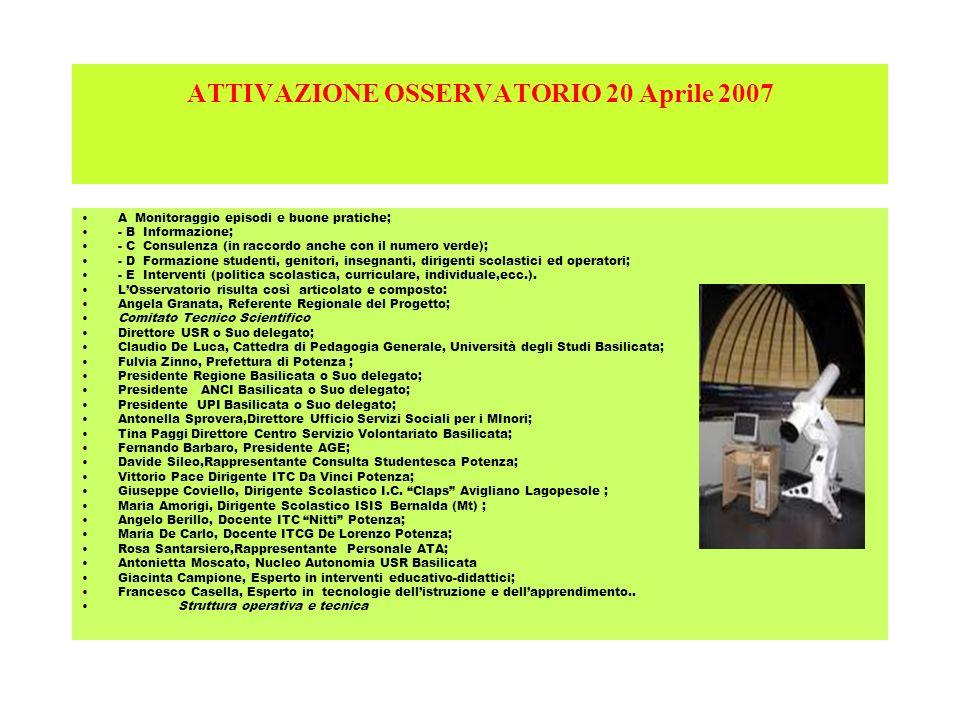 ATTIVAZIONE OSSERVATORIO 20 Aprile 2007 A Monitoraggio episodi e buone pratiche; - B Informazione; - C Consulenza (in raccordo anche con il numero ver