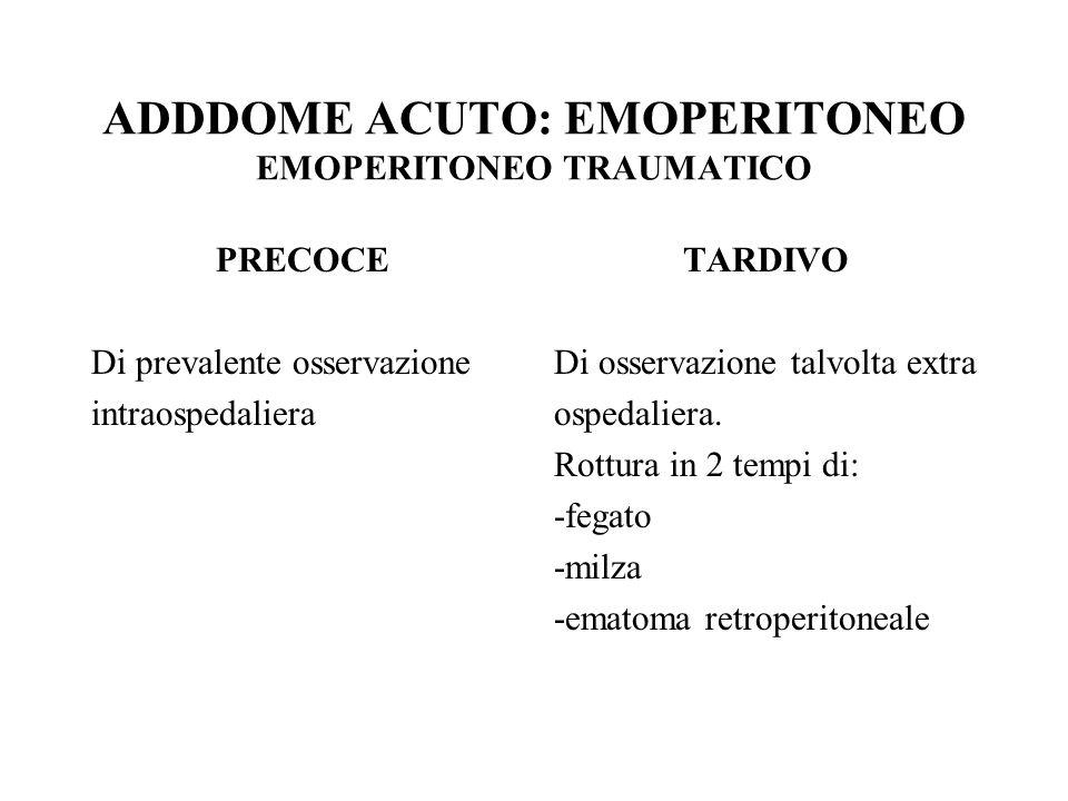 ADDDOME ACUTO: EMOPERITONEO EMOPERITONEO TRAUMATICO PRECOCE Di prevalente osservazione intraospedaliera TARDIVO Di osservazione talvolta extra ospedal