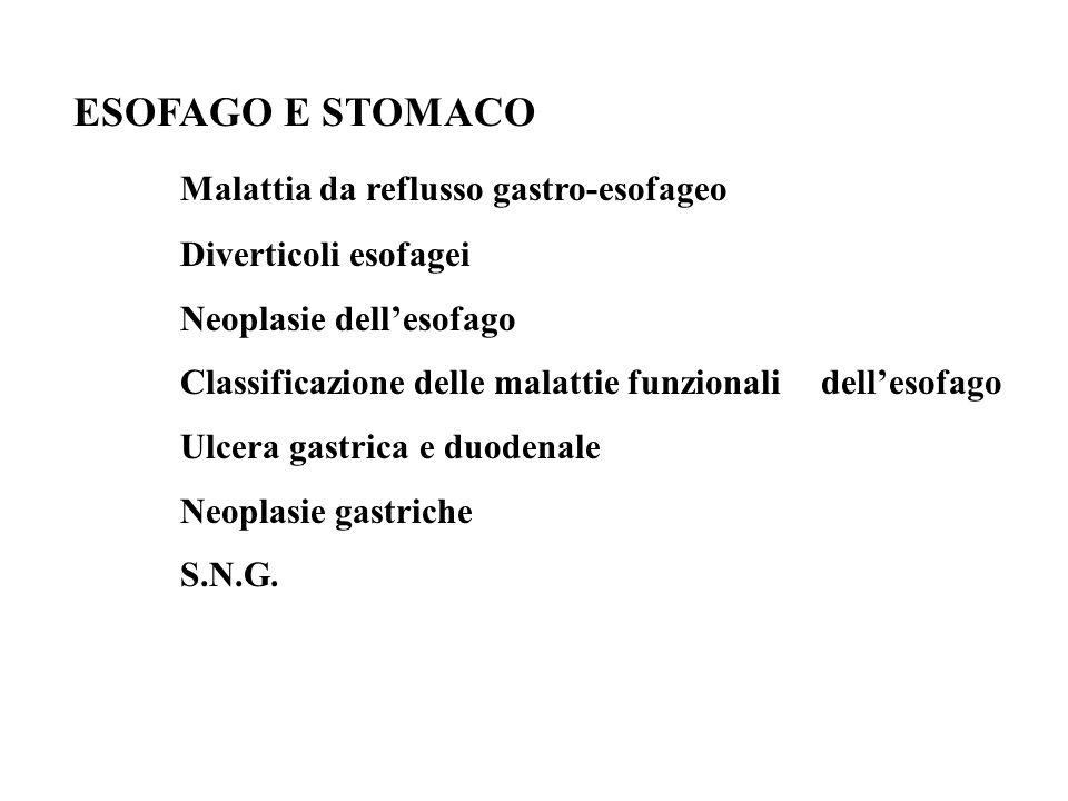 ESOFAGO E STOMACO Malattia da reflusso gastro-esofageo Diverticoli esofagei Neoplasie dellesofago Classificazione delle malattie funzionali dellesofag
