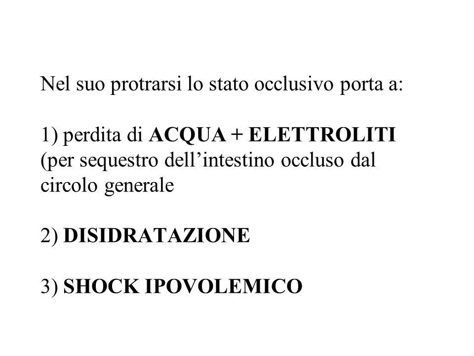 Nel suo protrarsi lo stato occlusivo porta a: 1) perdita di ACQUA + ELETTROLITI (per sequestro dellintestino occluso dal circolo generale 2) DISIDRATA