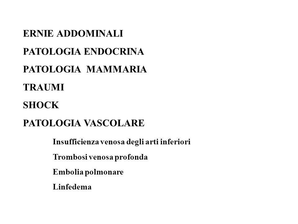 ERNIE ADDOMINALI PATOLOGIA ENDOCRINA PATOLOGIA MAMMARIA TRAUMI SHOCK PATOLOGIA VASCOLARE Insufficienza venosa degli arti inferiori Trombosi venosa pro