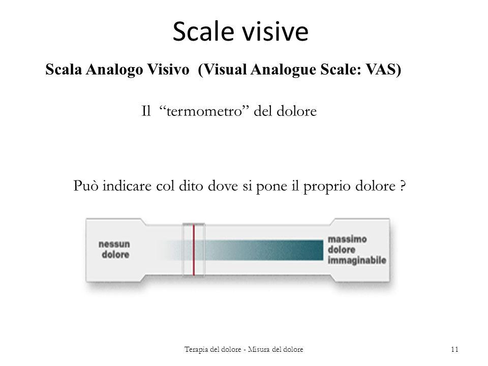 Scale visive Scala Analogo Visivo (Visual Analogue Scale: VAS) Il termometro del dolore Può indicare col dito dove si pone il proprio dolore ? 11Terap