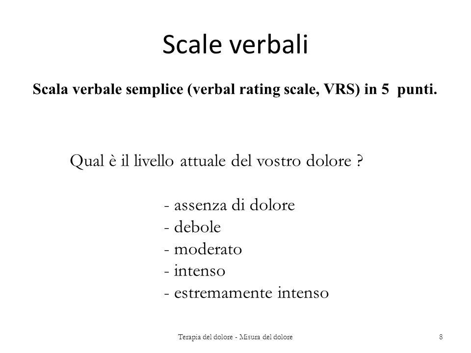 Scala verbale semplice (verbal rating scale, VRS) in 5 punti. Scale verbali Qual è il livello attuale del vostro dolore ? - assenza di dolore - debole