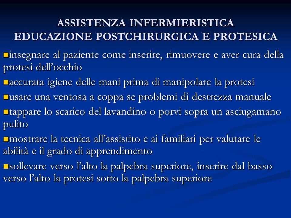 ASSISTENZA INFERMIERISTICA EDUCAZIONE POSTCHIRURGICA E PROTESICA insegnare al paziente come inserire, rimuovere e aver cura della protesi dellocchio i