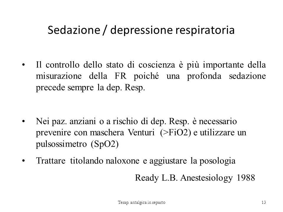 Sedazione / depressione respiratoria Terap. antalgica in reparto13 Il controllo dello stato di coscienza è più importante della misurazione della FR p