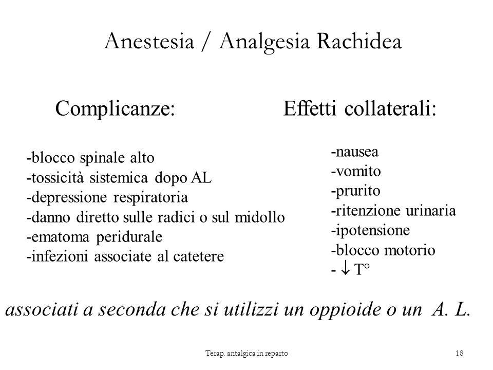 Anestesia / Analgesia Rachidea Complicanze: -blocco spinale alto -tossicità sistemica dopo AL -depressione respiratoria -danno diretto sulle radici o