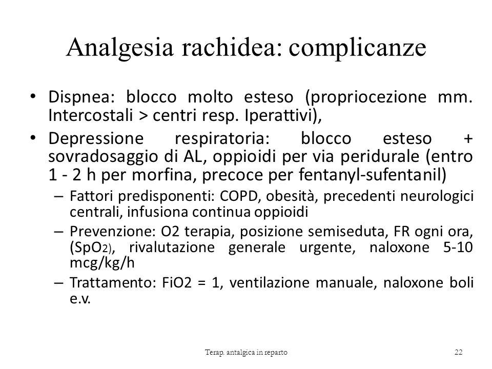 Analgesia rachidea: complicanze Dispnea: blocco molto esteso (propriocezione mm. Intercostali > centri resp. Iperattivi), Depressione respiratoria: bl