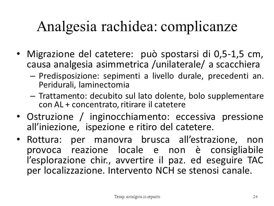 Analgesia rachidea: complicanze Migrazione del catetere: può spostarsi di 0,5-1,5 cm, causa analgesia asimmetrica /unilaterale/ a scacchiera – Predisp