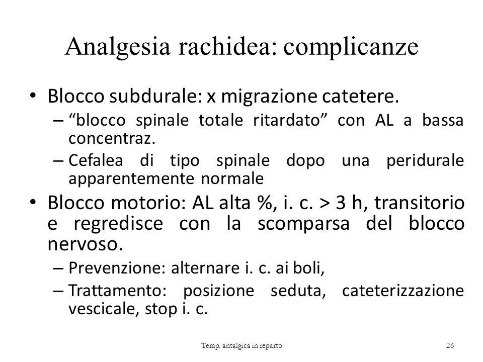 Analgesia rachidea: complicanze Blocco subdurale: x migrazione catetere. – blocco spinale totale ritardato con AL a bassa concentraz. – Cefalea di tip