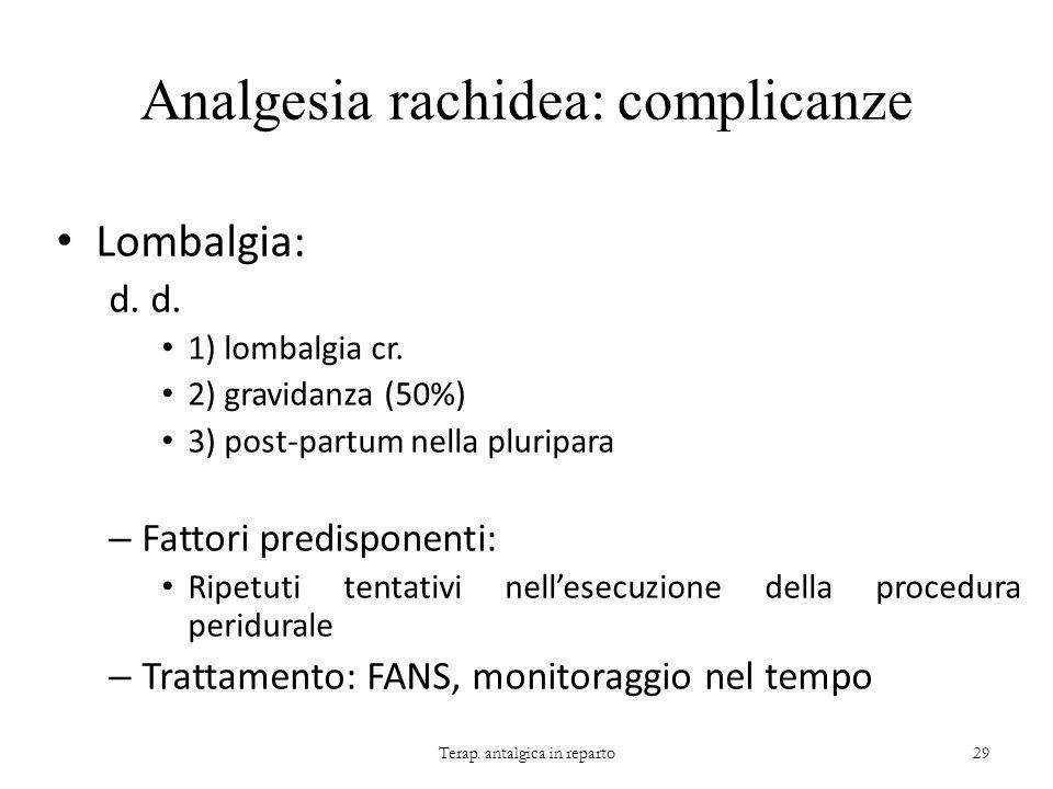 Analgesia rachidea: complicanze Lombalgia: d. 1) lombalgia cr. 2) gravidanza (50%) 3) post-partum nella pluripara – Fattori predisponenti: Ripetuti te