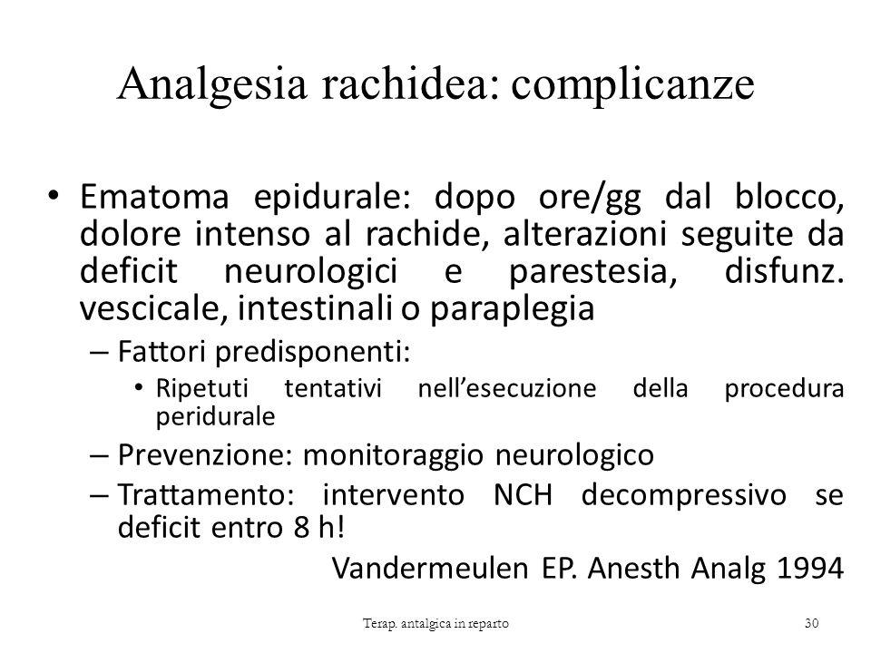 Analgesia rachidea: complicanze Ematoma epidurale: dopo ore/gg dal blocco, dolore intenso al rachide, alterazioni seguite da deficit neurologici e par
