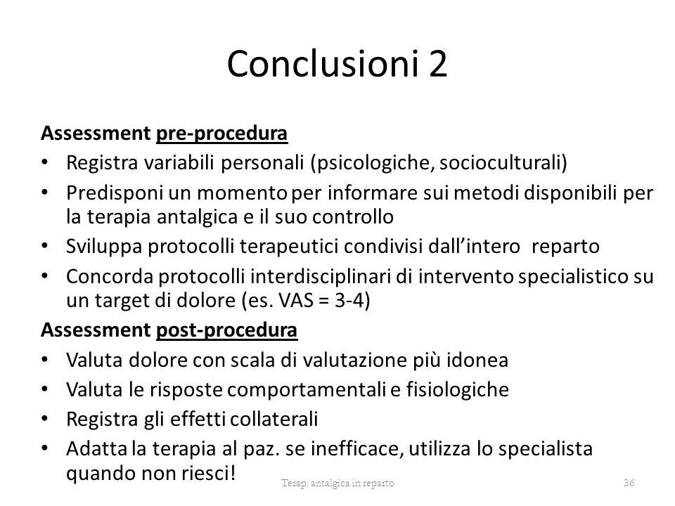 Conclusioni 2 Assessment pre-procedura Registra variabili personali (psicologiche, socioculturali) Predisponi un momento per informare sui metodi disp