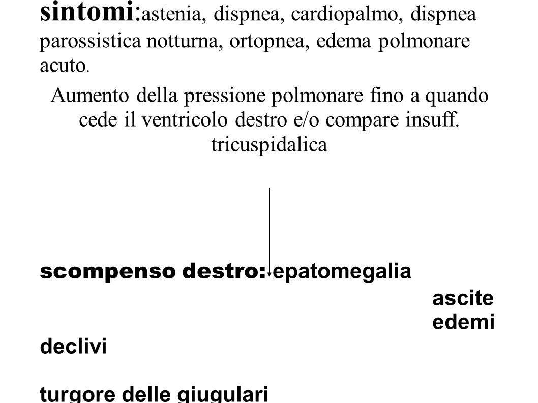 sintomi: astenia, dispnea, cardiopalmo, dispnea parossistica notturna, ortopnea, edema polmonare acuto. Aumento della pressione polmonare fino a quand