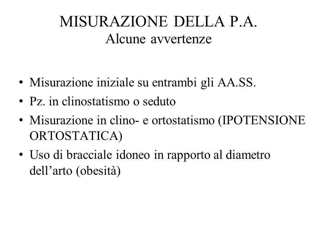 MISURAZIONE DELLA P.A. Alcune avvertenze Misurazione iniziale su entrambi gli AA.SS. Pz. in clinostatismo o seduto Misurazione in clino- e ortostatism