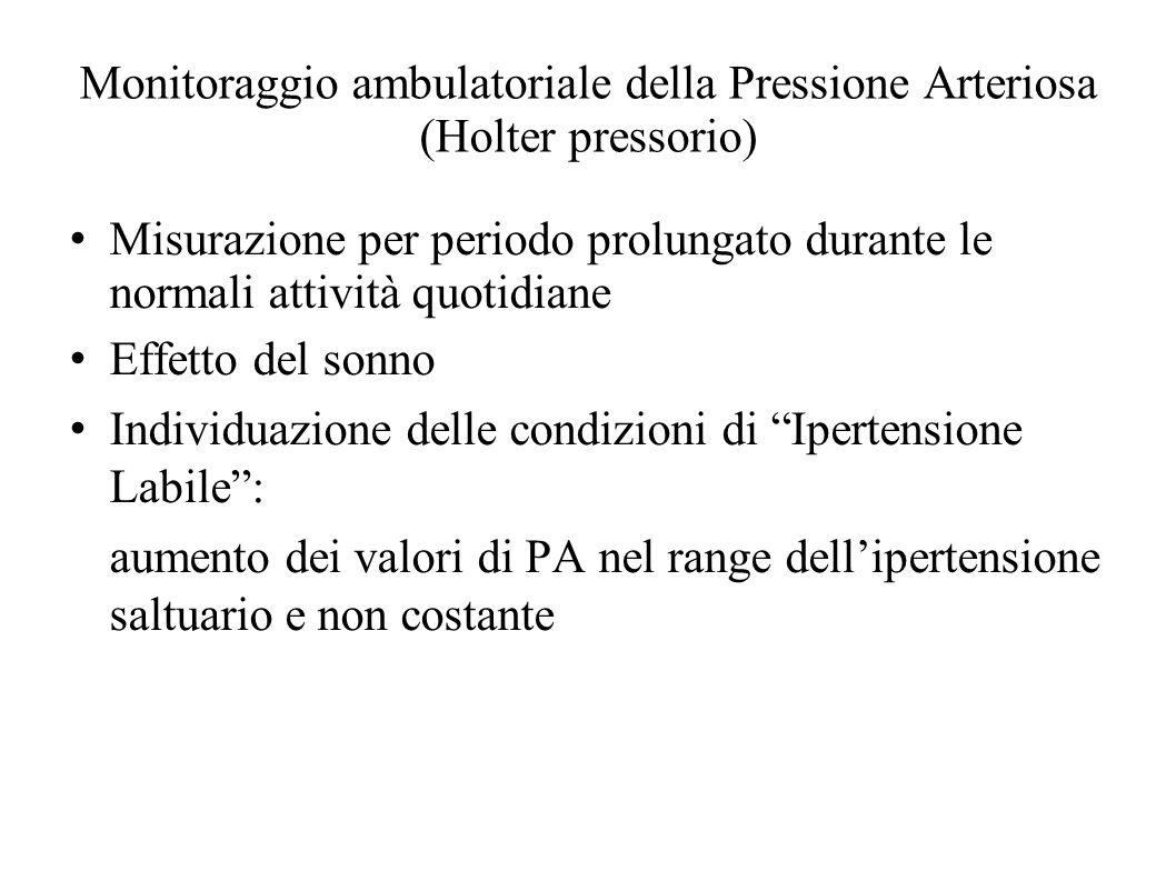 Monitoraggio ambulatoriale della Pressione Arteriosa (Holter pressorio) Misurazione per periodo prolungato durante le normali attività quotidiane Effe