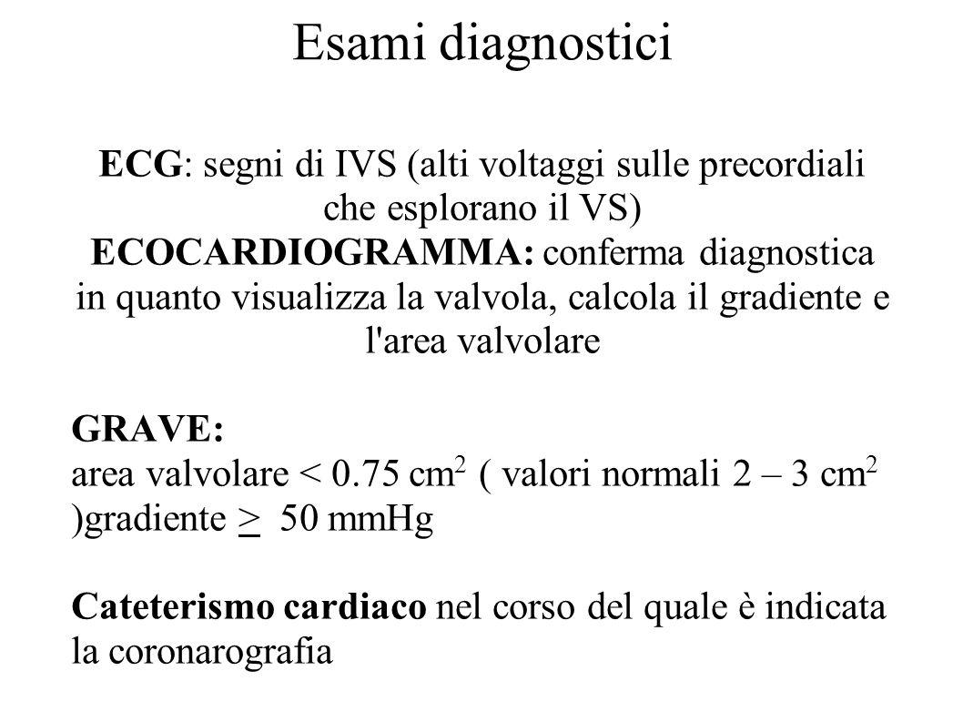 Esami diagnostici ECG: segni di IVS (alti voltaggi sulle precordiali che esplorano il VS) ECOCARDIOGRAMMA: conferma diagnostica in quanto visualizza l