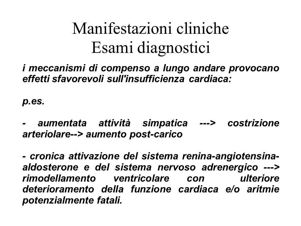 Manifestazioni cliniche Esami diagnostici i meccanismi di compenso a lungo andare provocano effetti sfavorevoli sull'insufficienza cardiaca: p.es. - a