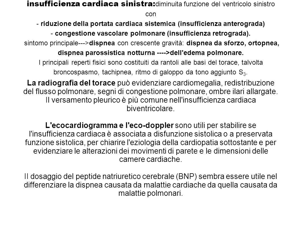 insufficienza cardiaca sinistra: diminuita funzione del ventricolo sinistro con - riduzione della portata cardiaca sistemica (insufficienza anterograd