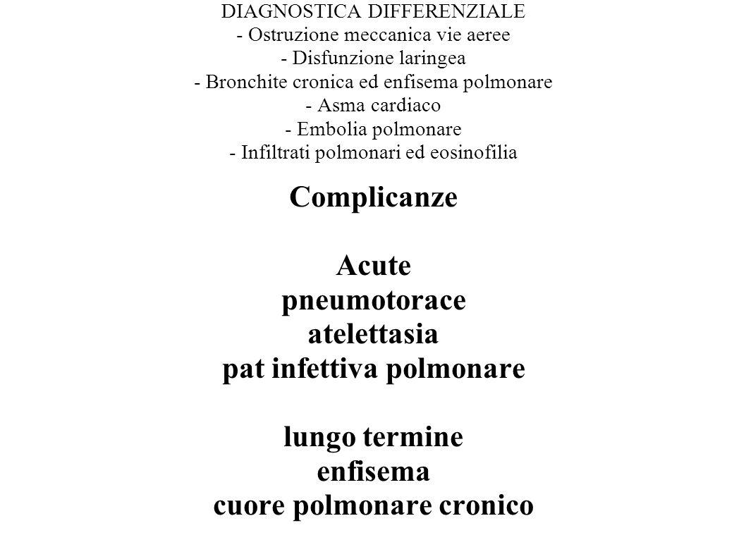 DIAGNOSTICA DIFFERENZIALE - Ostruzione meccanica vie aeree - Disfunzione laringea - Bronchite cronica ed enfisema polmonare - Asma cardiaco - Embolia