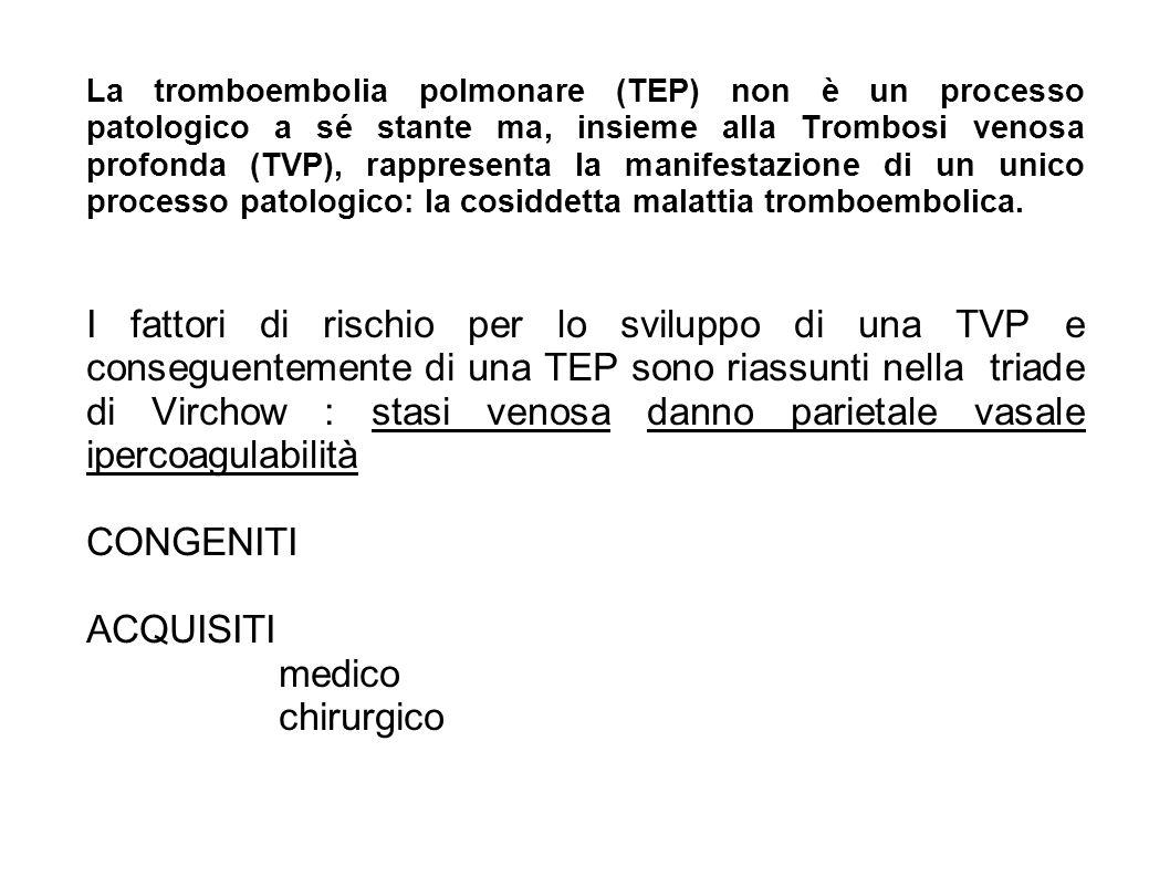 La tromboembolia polmonare (TEP) non è un processo patologico a sé stante ma, insieme alla Trombosi venosa profonda (TVP), rappresenta la manifestazio