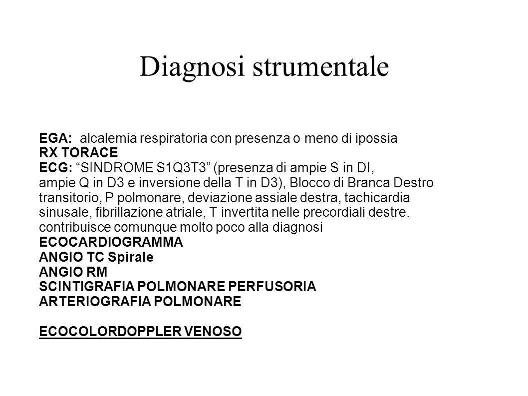 Diagnosi strumentale EGA: alcalemia respiratoria con presenza o meno di ipossia RX TORACE ECG: SINDROME S1Q3T3 (presenza di ampie S in DI, ampie Q in
