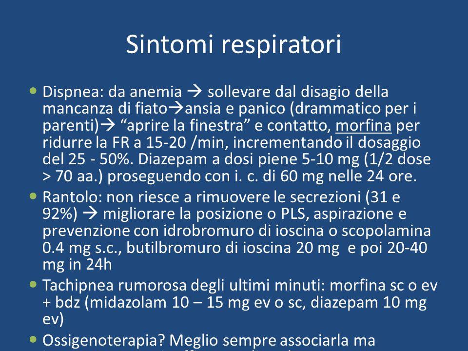 Sintomi respiratori Dispnea: da anemia sollevare dal disagio della mancanza di fiato ansia e panico (drammatico per i parenti) aprire la finestra e contatto, morfina per ridurre la FR a 15-20 /min, incrementando il dosaggio del 25 - 50%.