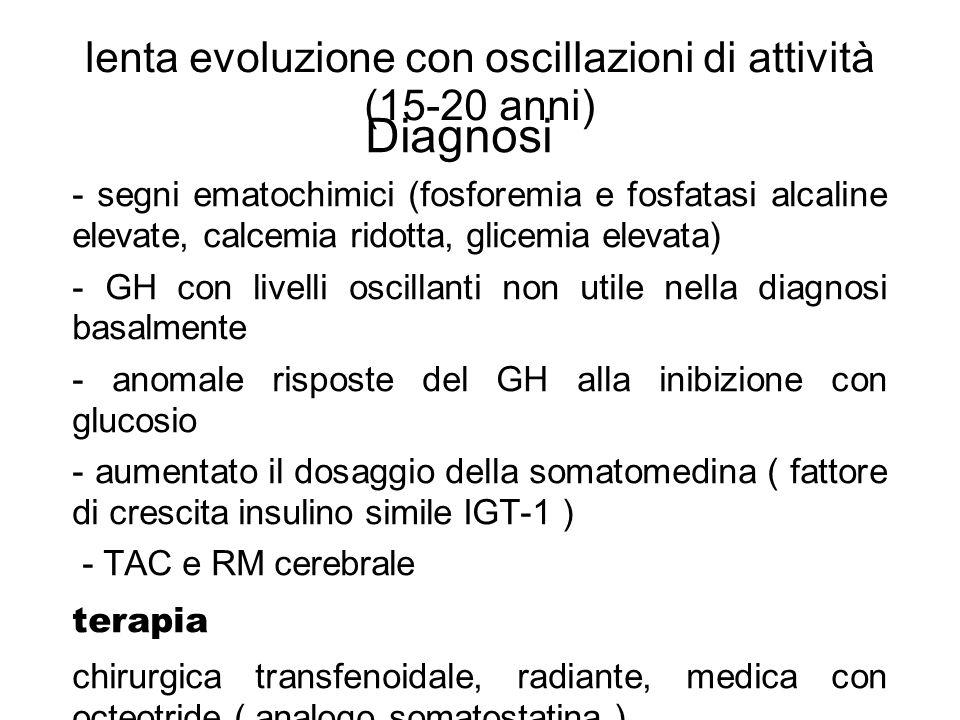 lenta evoluzione con oscillazioni di attività (15-20 anni) Diagnosi - segni ematochimici (fosforemia e fosfatasi alcaline elevate, calcemia ridotta, g