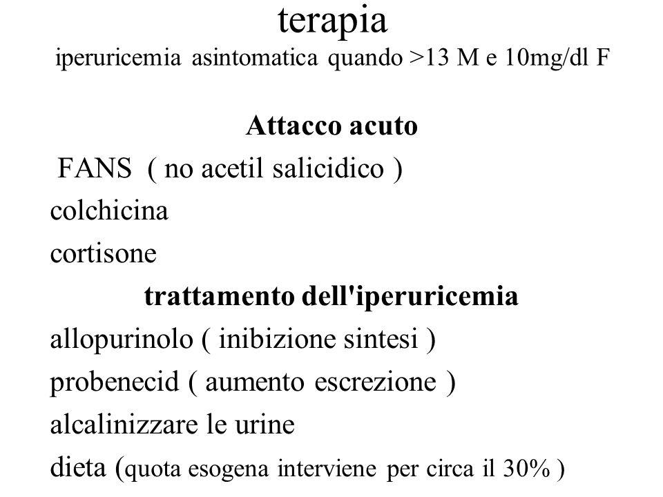 terapia iperuricemia asintomatica quando >13 M e 10mg/dl F Attacco acuto FANS ( no acetil salicidico ) colchicina cortisone trattamento dell'iperurice