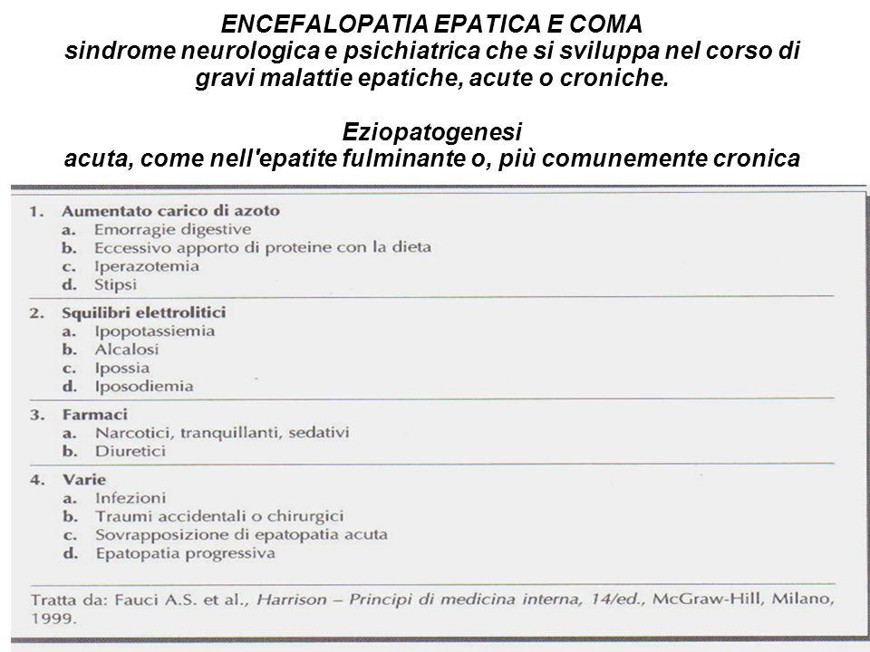 ENCEFALOPATIA EPATICA E COMA sindrome neurologica e psichiatrica che si sviluppa nel corso di gravi malattie epatiche, acute o croniche. Eziopatogenes