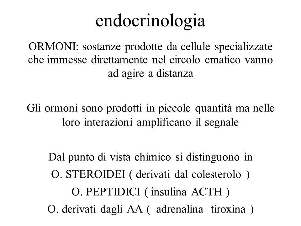 endocrinologia ORMONI: sostanze prodotte da cellule specializzate che immesse direttamente nel circolo ematico vanno ad agire a distanza Gli ormoni so