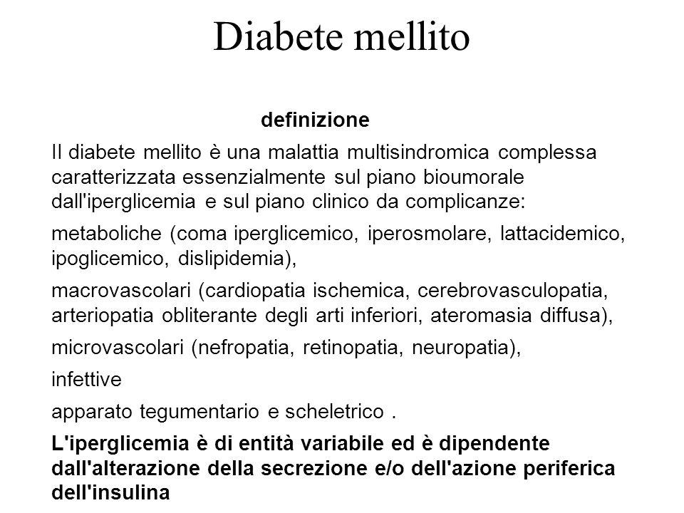 Diabete mellito definizione II diabete mellito è una malattia multisindromica complessa caratterizzata essenzialmente sul piano bioumorale dall'ipergl
