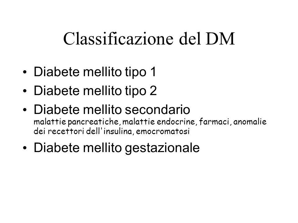 Classificazione del DM Diabete mellito tipo 1 Diabete mellito tipo 2 Diabete mellito secondario malattie pancreatiche, malattie endocrine, farmaci, an